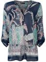 Блузка принтованная из шифона oodji #SECTION_NAME# (синий), 21401246/17358/7973E