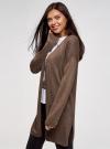 Кардиган без застежки с карманами oodji для женщины (коричневый), 63212589/45904/3900M - вид 2