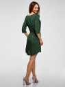 Платье вискозное с рукавом 3/4 oodji #SECTION_NAME# (зеленый), 11901153-1B/42540/6919O - вид 3