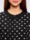 Блузка из струящейся ткани с контрастным воротником oodji #SECTION_NAME# (черный), 11411117/36005/2930Q - вид 4