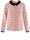 Блузка из струящейся ткани с контрастным воротником oodji #SECTION_NAME# (розовый), 11411117/36005/5429Q