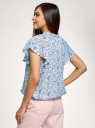 Блузка вискозная с короткими рукавами oodji для женщины (синий), 11414009/24681/7040F