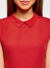 Блузка базовая без рукавов с воротником oodji #SECTION_NAME# (красный), 11411084B/43414/4500N - вид 4