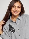 Рубашка oversize с нашивками oodji #SECTION_NAME# (серый), 13K11004-2/45387/2910S - вид 4