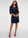 Платье вискозное с рукавом 3/4 oodji #SECTION_NAME# (синий), 11901153-1B/42540/7900N - вид 2