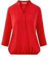 Блузка вискозная с рукавом-трансформером 3/4 oodji для женщины (красный), 11403189-3B/26346/4501N