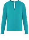 Блузка с вырезом-капелькой и металлическим декором oodji #SECTION_NAME# (бирюзовый), 21400396/38580/7300N