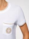 Футболка прямого силуэта с вышивкой oodji #SECTION_NAME# (белый), 14701090/46161/1000P - вид 5