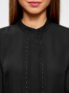 Блузка с металлическими стразами oodji #SECTION_NAME# (черный), 21401247/32823/2900N - вид 4