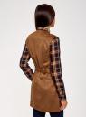 Жилет из искусственной замши с поясом oodji для женщины (коричневый), 18C03001-1/45778/3700N