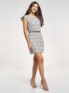 Платье принтованное из вискозы oodji #SECTION_NAME# (белый), 11910073/26346/1229O - вид 6