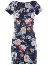 Платье трикотажное приталенного силуэта oodji #SECTION_NAME# (синий), 14001117-14B/45344/7941F