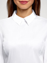 Блузка хлопковая с баской oodji для женщины (белый), 13K00001-1B/42083/1000N