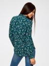 Блузка принтованная из вискозы oodji #SECTION_NAME# (зеленый), 11411087-1/24681/6C41F - вид 3