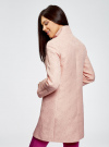 Пальто прямого силуэта из фактурной ткани oodji #SECTION_NAME# (розовый), 10104043/43312/5400N - вид 3