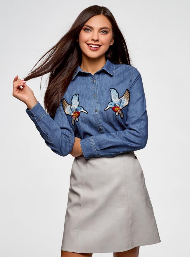 Рубашка джинсовая с нашивками oodji #SECTION_NAME# (синий), 16A09007/47925/7500W
