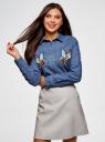 Рубашка джинсовая с нашивками oodji #SECTION_NAME# (синий), 16A09007/47925/7500W - вид 2
