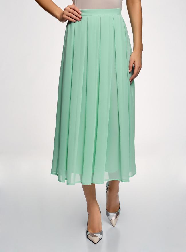 Юбка в складку из струящейся ткани oodji для женщины (зеленый), 23G00009-2B/45193/6500N