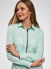 Рубашка приталенная с нагрудными карманами oodji #SECTION_NAME# (зеленый), 11403222-3/42468/6500N - вид 4