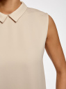 Блузка базовая без рукавов с воротником oodji #SECTION_NAME# (бежевый), 11411084B/43414/3300N - вид 5