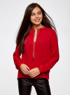 Блузка из струящейся ткани с металлическим украшением oodji #SECTION_NAME# (красный), 21414004/45906/4500N - вид 2