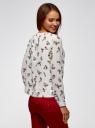 Блузка прямого силуэта на подкладке oodji #SECTION_NAME# (белый), 11411190/48854/1245F - вид 3