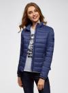 Куртка с трикотажными манжетами и воротником-стойкой oodji #SECTION_NAME# (синий), 10204056/47172/7800N - вид 2