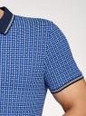 Поло принтованное с контрастной отделкой oodji для мужчины (синий), 5L412279M-2/46748N/7510G