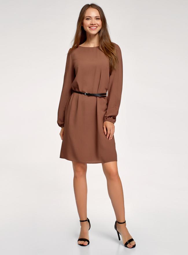 Платье вискозное с ремнем oodji для женщины (коричневый), 11900150-20B/42540/3700N
