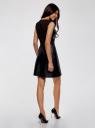 Платье из искусственной кожи с металлическим декором oodji для женщины (черный), 11902150/42442/2900N