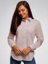 Рубашка хлопковая с нагрудным карманом oodji #SECTION_NAME# (розовый), 13K03014/18193/4010B - вид 2