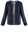 Блузка прямого силуэта с завязками oodji #SECTION_NAME# (синий), 11401267/42405/7912G