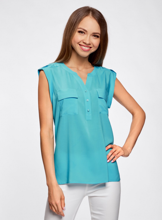 Блузка с короткими рукавами и нагрудными карманами oodji #SECTION_NAME# (бирюзовый), 21412132-2B/24681/7300N