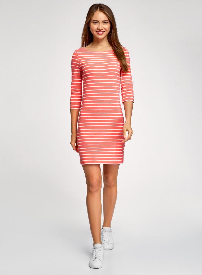 Платье трикотажное базовое oodji #SECTION_NAME# (красный), 14001071-2B/46148/4310S