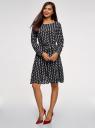 Платье принтованное с поясом oodji для женщины (черный), 21901157/38313/2910D