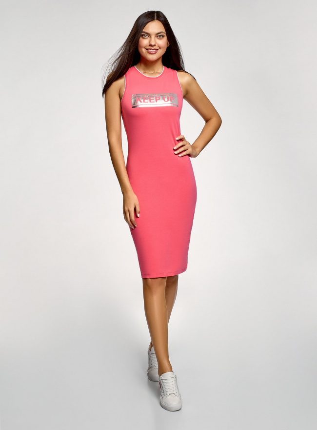 Платье хлопковое облегающего силуэта oodji #SECTION_NAME# (розовый), 14015022-1/47420/4D91P