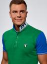 Поло комбинированное из ткани пике oodji для мужчины (зеленый), 5L412288M/46508N/6275B