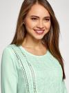 Блузка прямого силуэта с вышивкой oodji #SECTION_NAME# (зеленый), 11411094/45403/6500N - вид 4