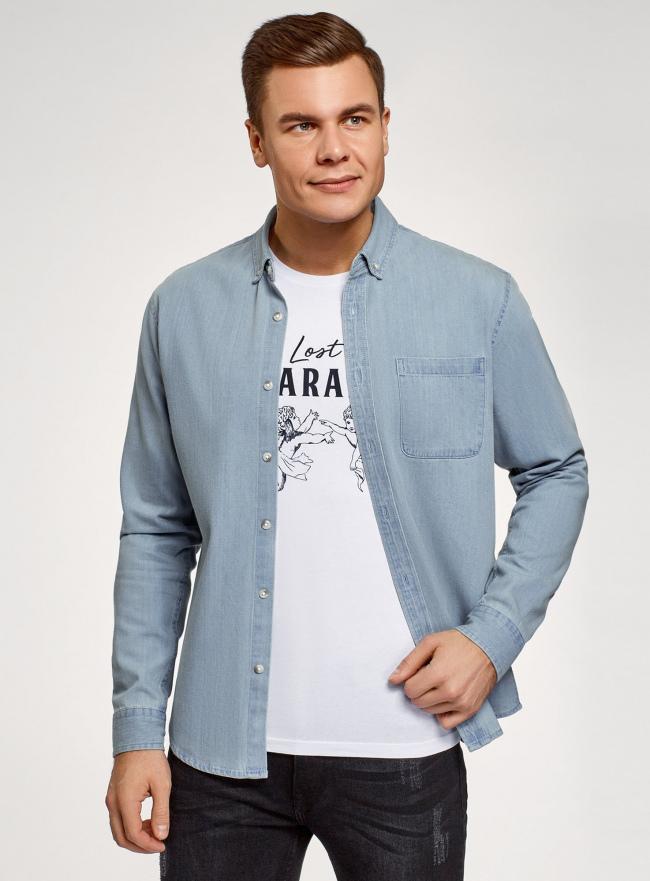 Рубашка джинсовая с нагрудным карманом oodji #SECTION_NAME# (синий), 6L410003M/35771/7000W