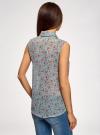 Топ из струящейся ткани с рубашечным воротником oodji для женщины (зеленый), 14903001B/42816/6543F - вид 3