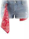 Шорты джинсовые с банданой oodji #SECTION_NAME# (синий), 12807088/46787/7000W