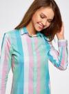 Блузка клетчатая прямого силуэта oodji для женщины (разноцветный), 11411131/46090/4165C - вид 4