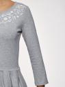Платье трикотажное приталенное oodji #SECTION_NAME# (серый), 14011005-4/47420/2010Z - вид 5