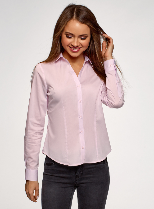 Рубашка базовая с V-образным вырезом oodji для женщины (розовый), 13K02001B/42083/4001N