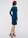 Платье трикотажное облегающего силуэта oodji для женщины (синий), 14001183B/46148/7901N - вид 3