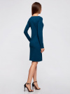 Платье трикотажное облегающего силуэта oodji #SECTION_NAME# (синий), 14001183B/46148/7901N - вид 3