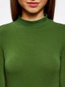 Водолазка хлопковая с рукавом 3/4 oodji #SECTION_NAME# (зеленый), 15E11007B/46147/6900N - вид 4