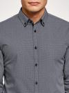 Рубашка slim с двойным воротником oodji #SECTION_NAME# (синий), 3L110223M/19370N/1079G - вид 4