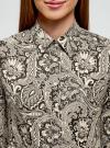 Рубашка приталенная принтованная oodji #SECTION_NAME# (бежевый), 21402212/14885/2930E - вид 4