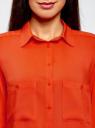 Блузка базовая из вискозы с карманами oodji для женщины (оранжевый), 11400355-4/26346/5900N